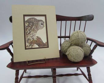 Barred Owl Print by Artist E. Darrell Smith, Double Matted, Ready to Frame