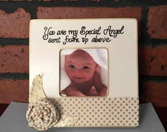 Personalized baby girl Frame Baby Girl GIFT Mom gift Gift Christmas baby frame White and Gold Frame Special Angel grandma gift Grandparent