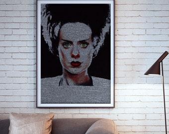 The Bride of Frankenstein Typographic Movie Poster Script Print