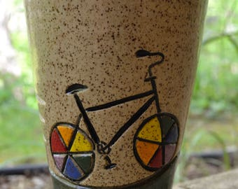 Rainbow Bicycle Pint Cup
