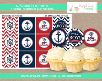 Instant Download, Nautical Baby Shower Cupcake Toppers, Nautical Cupcake toppers, Nautical Shower, Red, Cupcake Toppers,  #0009