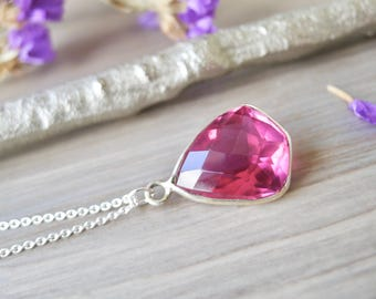 Pink Gemstone, Necklace, Sterling Silver, Pink Quartz, Fancy Cut, Faceted, Rubellite, Stunning, Hot Pink Stone, Pink Topaz, Bright Pink