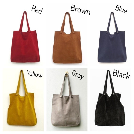 Brown suede tote bagBrown leather bagBrown handbagSuede