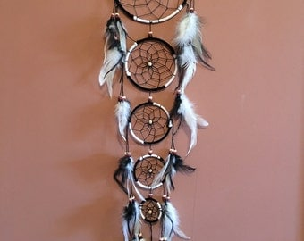 "6"" Dream Catcher,Black & White,Large ,Reiki Charged, Legend, Native, Hand Wrapped,Dreamcatcher, Energy Healing, Protection"
