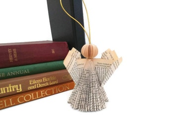 Book Art Angel - Folded - Christmas Hanging Ornament - Paper Art