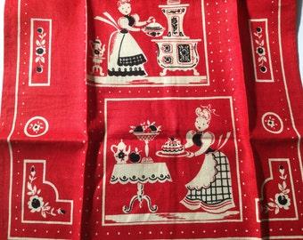50s vintage red/ivory/black linen dish cloth