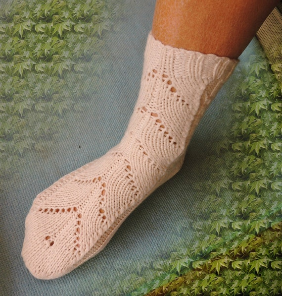 Hand Knitted  Socks Luxury Cashmere Cotton Lacy pattern Cozy Warm Home Comfort Warm Soft Elegant Design