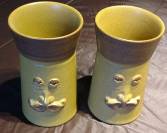 Denby Mugs, 2 Tall Mid-Century, with Mustachioed Man (1950-1975)
