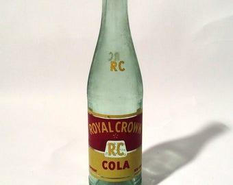 Vintage 1950s RC Royal Crown Cola Glass Bottle