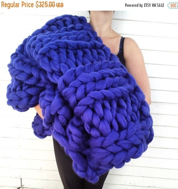 on sale super chunky knit merino blanket 40 x 58 by lilyandpeabody. Black Bedroom Furniture Sets. Home Design Ideas
