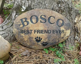Pet memorial personalized dog or cat sandcarved 7 to 9 inches river stone