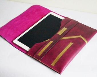Leather Large iPad Sleeve Large Leather iPad Case iPad Cover Tablet Cover Bright Color Gold Color Custom Design
