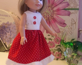 Red and White Ruffle Dress