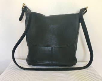 """Vintage COACH Black Leather Classic """"Whitney"""" Flap Shoulder Bag Purse, Item No H216"""