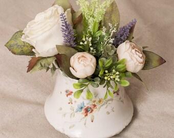 Spring Floral Arrangement in Vintage Vase