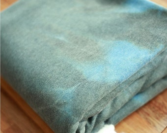Brushed French Terry Knit Fabric Watercolor Grey Blue By The Yard