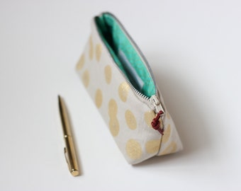 Eco Zip Artist's Pouch • Summer Clutch • Linen with Gold Polka Dots