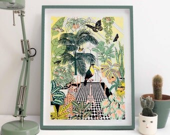 Limited edition Green house Screen Print, Tropical Art Print