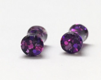 4mm (6g) Pink & Purple Glitter Plugs - Double Flared - Plugs - Gauges - Stretched Ears