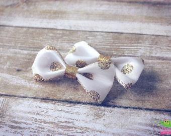 """Gold Polka Dot Hair Bows, Baby Toddler Hair Bows, Ribbon Hair Bows, Hair Clips Barrettes, 2.5"""" Hair Bows, Pigtail Hair Bows, Girls Hair Bows"""