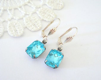 Little Aquamarine Earrings, Crystal Birthstone Earrings, Blue Earrings, Old Hollywood Earrings, Vintage Jewel Earrings, Gift for Her