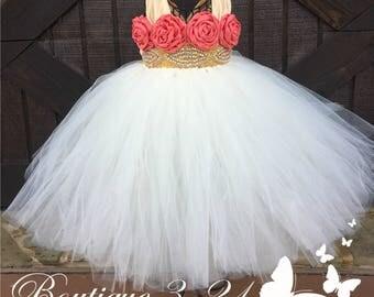 Ivory, Coral & Gold tutu dress, Ivory Flower Girl Dress, Gold Flower Girl Dress, Ivory Tutu Dress, Gold Tutu Dress, Ivory Dress, Gold Dress
