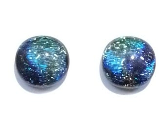 Dazzling 12mm Dichroic Fused Glass Stud Earrings, Green, Cobalt Blue, Turquoise, purple Hypoallergenic Surgical steel