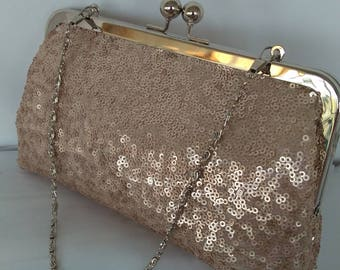 Blush rose gold sequin wedding evening bridesmaid clutch BBsCustomClutches