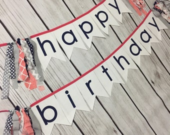 Custom Happy Birthday Fabric Banner for First Birthday Party Decoration Photo Prop Any Colors