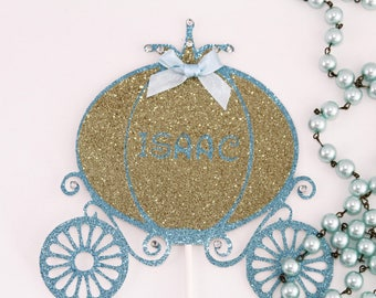 cinderella carriage, cake topper, cinderella carriage, blue carriage, pink carriage, glitter cake topper, custom cake topper, princess party