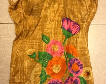 1960s Vintage peter pan floral one piece swim suit union made in USA VLV Pinup