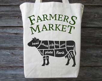 Farmers Market Tote, Cotton Canvas Tote, Cow Tote, Farmers Market, Shopping Tote, Cotton Tote, Meat Tote, Beef Tote, Beef, Cow
