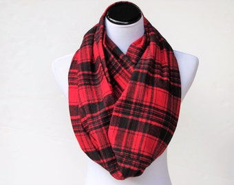 Plaid infinity scarf, Christmas scarf, soft and warm flannel winter scarf, long and wide scarf, red black plaids loop scarf