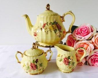 Sadler Yellow, Gold & Floral Swirl Teapot set, Staffordshire, 1940s.