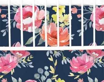 Navy Midnight Bloom Flat Panel Skirt | Navy, Moody, Flat Panel Crib Skirt | Dark Floral Inspired Crib Bedding Set | Navy Floral Nursery