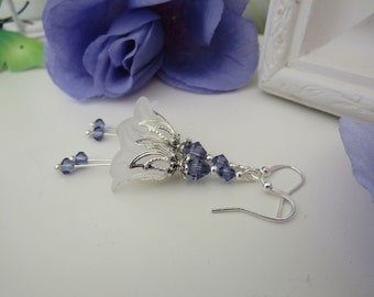 White Lucite Flower Earrings - Tanzanite Swarovski Elements  Lilac