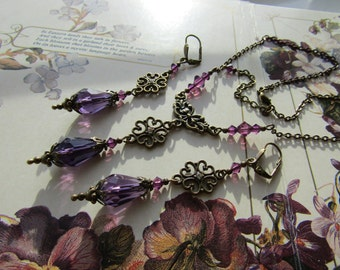 Vintage Style Purple Necklace and Earrings Set