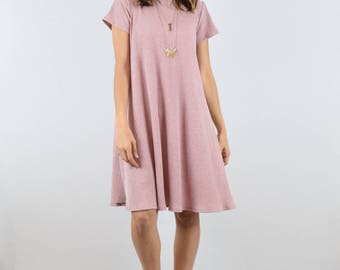 Ribbed Aline Swing Dress With Pockets| S-XL