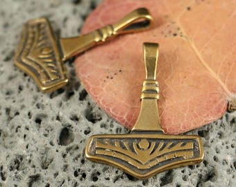Rolf BRONZE THORs HAMMER Pendant Viking Vikings Pagan Scandinavian Norse Mjolnir Mjöllnir  God Thunder Necklace Asatru Heathen Amulet SCA