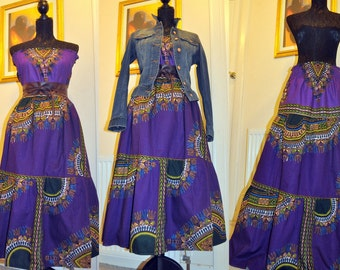 Purple dashiki midi dress/skirt combo