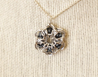 Snowflake Obsidian Maille Flower Pendant