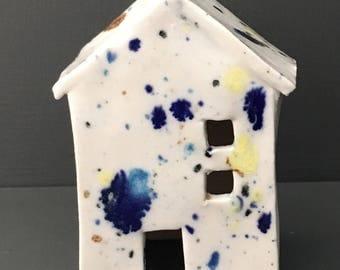 Confetti glaze porcelain house 12cm/4.5 inches tall