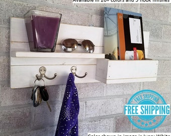 FREE SHIPPING - Modern Rustic Mail Organizer with Chalkboard - 2 Double  Hooks - Reclaimed Wood