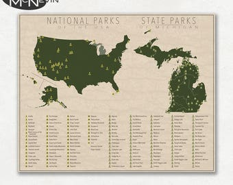 NATIONAL and STATE PARK Map of Michigan and the United States, Fine Art Photographic Print for the home decor.
