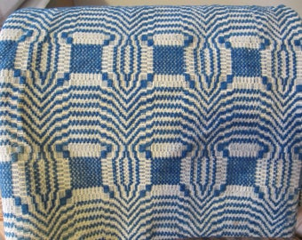 Antique Blue And Cream Coverlet/Over 100 Year Old Coverlet/2 Panel Woven Wool Coverlet/Antique Bed Covering/72 inches by 81 inches