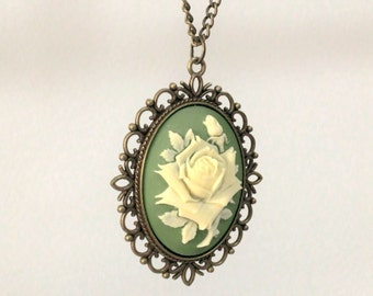 Rose Pendant Necklace Victorian Style Necklace Rose Cameo Jewelry Necklace Rose Jewelry Rose Pendant Necklace