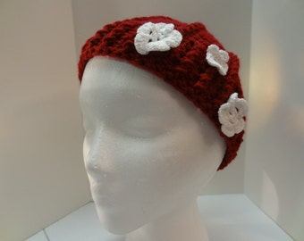 Hand Crochet Beanie with Removable Flowers