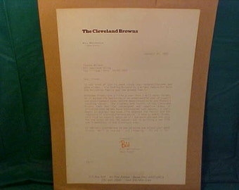 Vintage Cleveland Browns Official Letter Signed by Head Coach Bill Belichick 1992