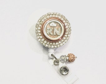 RN Rhinestone Bling Badge Reel- rose gold bling badge reel- locket badge reel