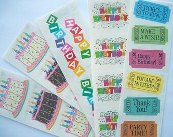 Pretty BIRTHDAY Sticker Lot, Birthday Cakes, Captions & MORE  Mrs. Grossman's 5 Full Sticker Strips